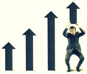 Businessman helps statistic